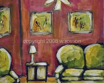 Pink Walls, Green Couch, Parlor Walls, Original Painting, Home Decor, Office Art, Waiting room, Bright, Colorful, Winjimir, Wall Art, Art
