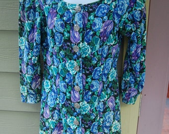 Vintage 80s 90s David Benjamin Floral Print Button Front Ribbed Knit 3/4 Sleeve Grunge Dress Size 9