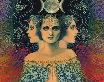 Moon Goddess of Mystery Psychedelic Tarot Art 11x14 Print Mythology Bohemian Gypsy Goddess Art