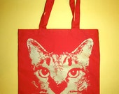 Red cat tote, bohemian red cat bag, cat tote bag, 1AEON red tote with golden kitty cat