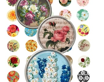 Digital Collage Sheet - Instant Download - Vintage Florals - 1 Inch Circles - NEW