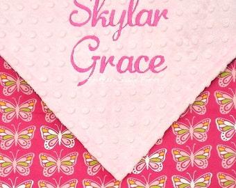 Personalized Baby Butterfly Blanket , Baby Girl Minky Blanket , Pink Butterflies Flannel
