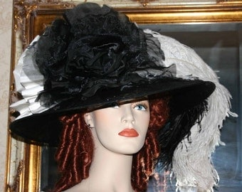 Kentucky Derby Hat Edwardian Tea Hat Downton Abbey Hat Ascot Hat - Lady Tracy - Black & Ivory Tea Hat - Wide Brim Hat Womens