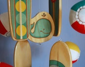Baby Mobile Beach - Surfboards with Plush Beach Balls - Teal and Green - Surf Baby Nursery