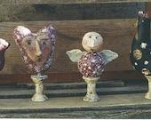 Primitive Valentine Angel Heart Pattern Chicken Bird Epattern PDF Mixed Media Wood Spools Figurine Makedo Hickety Pickety 104