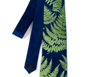 Fern leaves silk tie. Botanical print men's necktie. Dark chartreuse frond screenprint. Your choice of tie colors.