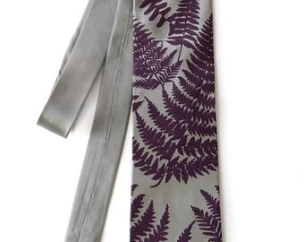 Fern necktie. Aubergine purple screenprint. Botanical print men's silk tie. Your choice of tie fabric colors.