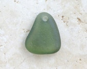 Dark Olive Green Sea Glass Pendant - 1 Top-Drilled