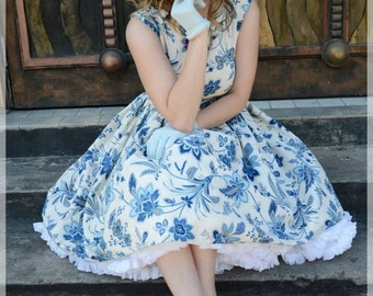 Blue and cream floral dress with button detail