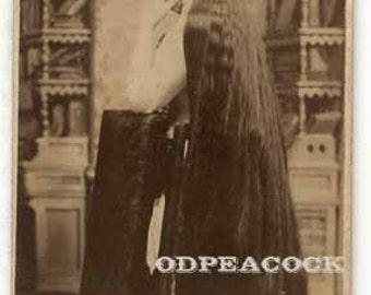 Sutherland sister long hair sideshow circus performer freak cdv