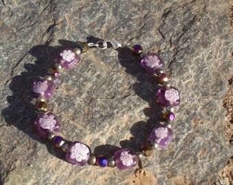 Purple Glass Flower Bracelet