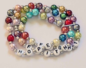 Colorful Glass Pearl Multi-strand bracelet. Customize with Words, names, quote. Mother's Day, Grandmother, Grandma, nana gift.