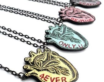 Pastel Anatomical Conversation Heart Necklaces  - Valentine's Day Gift for Her