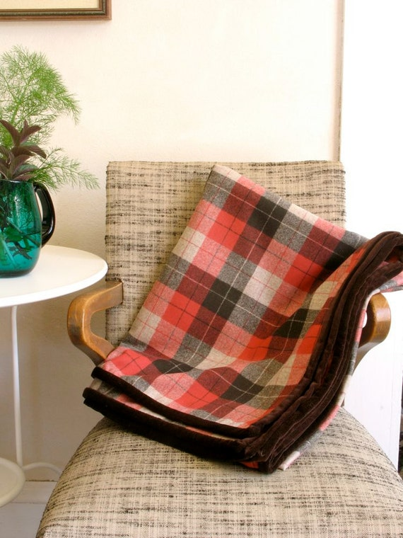 Wool Blanket Throw Classic Plaid in Cinnabar & Brown Velvet Binding