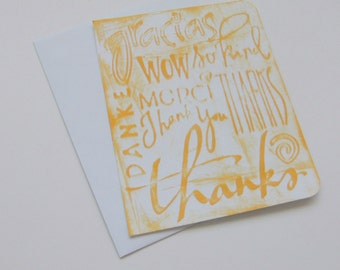 Handmade Thanks Card Embossed Inked Gracias Danke Merci So Kind Wow