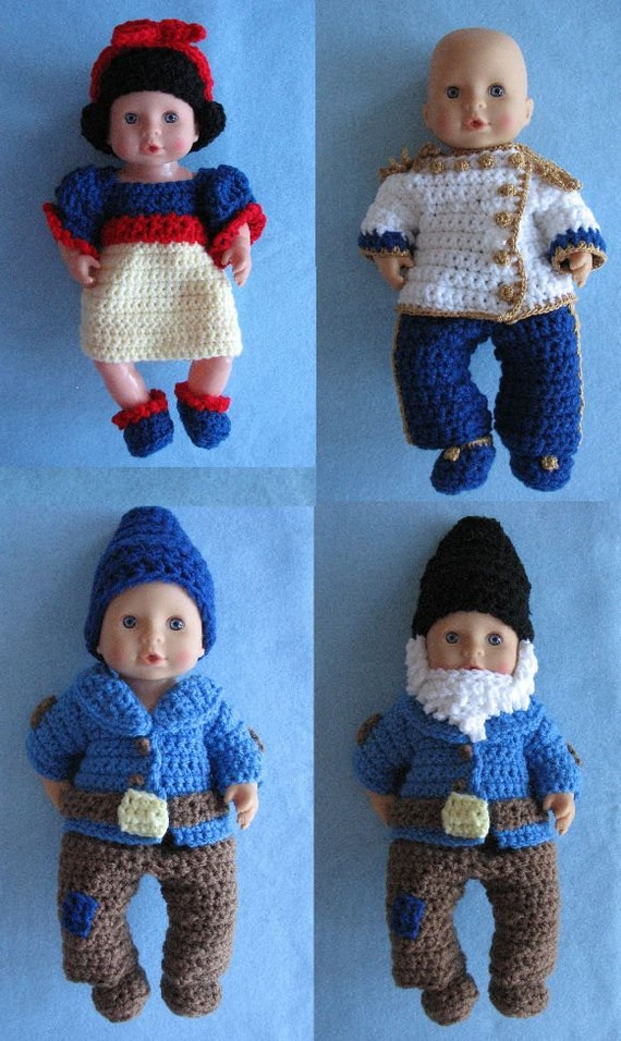 Snow White, Prince Charming & Dawrfs Crochet Pattern for 12-inch Baby Dolls in PDF