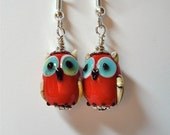 Red Opaque Lampwork Glass Owl Bird Earrings  on Silver   Whooo Can be without these