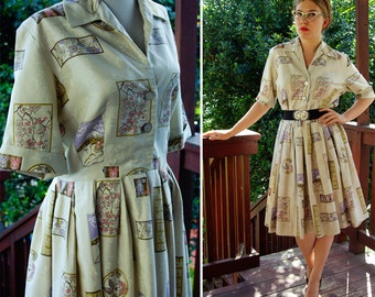 JAPAN Novelty 1950's Vintage Pearl Gray Dress with Cherry Blossoms and Mt. Fuji & Carved Shell Buttons size Medium
