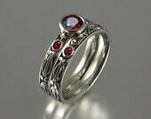 AUGUSTA 14K gold Garnet engagement ring & band wedding set