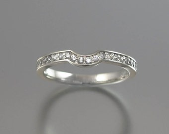 LAUREL BRANCH 14k gold wedding band with white sapphires