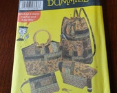 Simplicity Sewing Patterns for Dummies 5076 Backpack, Purse Handbag Coin Purse Pattern Uncut
