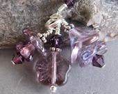 Purple Violet Spring Flower Bouquet Charm Zipper Pull Pendant
