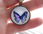Blue Violet Butterfly - mini print necklace pendant and chain