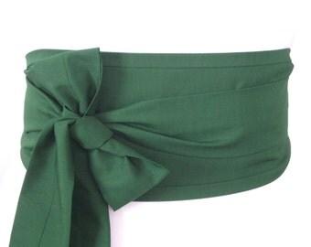 Forest Dark Green Obi belt - Kimono yukata Japanese style belt