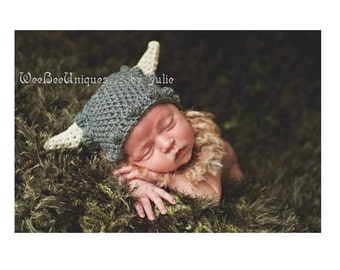 newborn baby boy viking hat photography prop with removable beard