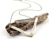 Personalized Modern Mother's Necklace Forged Silver Chevron