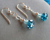 Teal Green Crystal Earrings - FREE SHIPPING