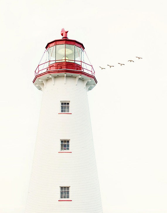 Lighthouse Photograph, Nautical Decor, Beach House, Lighthouse Decor, Coastal Art, PEI Canada, Red and White - To the Lighthouse