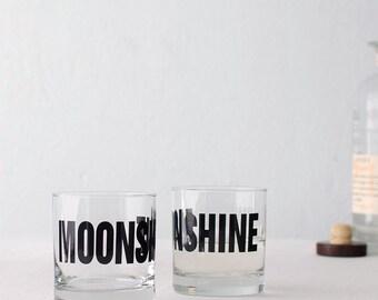 SALE!  MOONSHINE - hand printed charcoal rocks glass