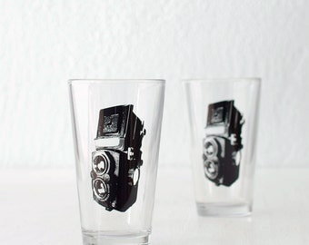 TLR camera screen printed pint glasses
