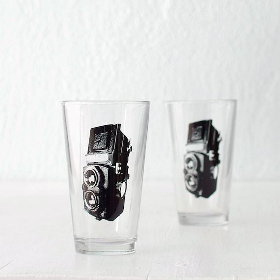 TLR camera screen printed pint glasses