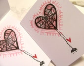 caught in your web of love hand printed linocut spider wedding anniversary edgy valentine card with envelope goth punk unusual art card