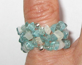 Apatite and Moonstone Ring - R170 Hand-made