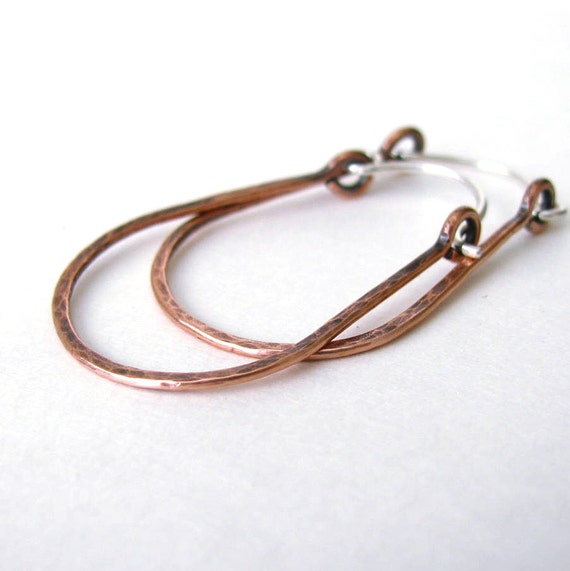 Hammered Copper Hoop Earrings Rustic Jewelry Oxidized Copper Horseshoe Hoops Handmade Hinged Hoops Western Cowgirl Equestrian Jewelry