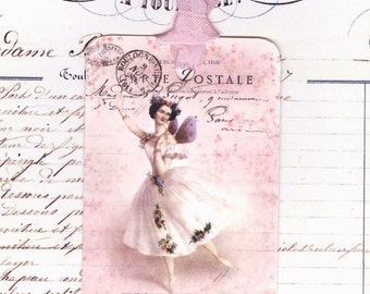 Ballerina Gift Tags -  Fairy Ballerina - Pink Tags -  French Tags - Feminine Birthday Tags , Pink Dancer