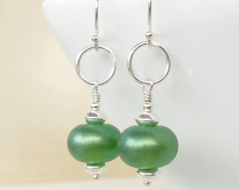 Summer Lime Lampwork earrings in sterling silver
