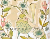 whimsical watercolor painting of a cute blue bird - 8 x 10 - archival and limited edition print by cori dantini