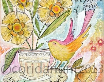 tea cup and bird watercolor painting - an 8 x 8 archival limited edition -  archival print by Cori Dantini