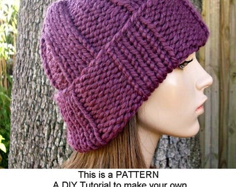 Instant Download Knitting Pattern - Knit Hat Knitting Pattern - Knit Hat Pattern for Watchman Cap Beanie Hat - Womens Accessories
