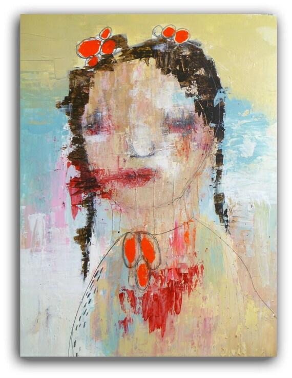 Original Painting, Modern wall Art , Textured Original  Portrait Painting - Say Goodbye