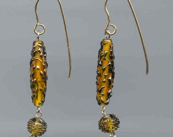 Amber Colored Drop 14K Gold Fill Earrings