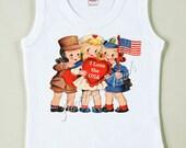 Military Shirt Girl July 4th Patriotic Retro Tee Custom Size Vintage Tshirt Tank