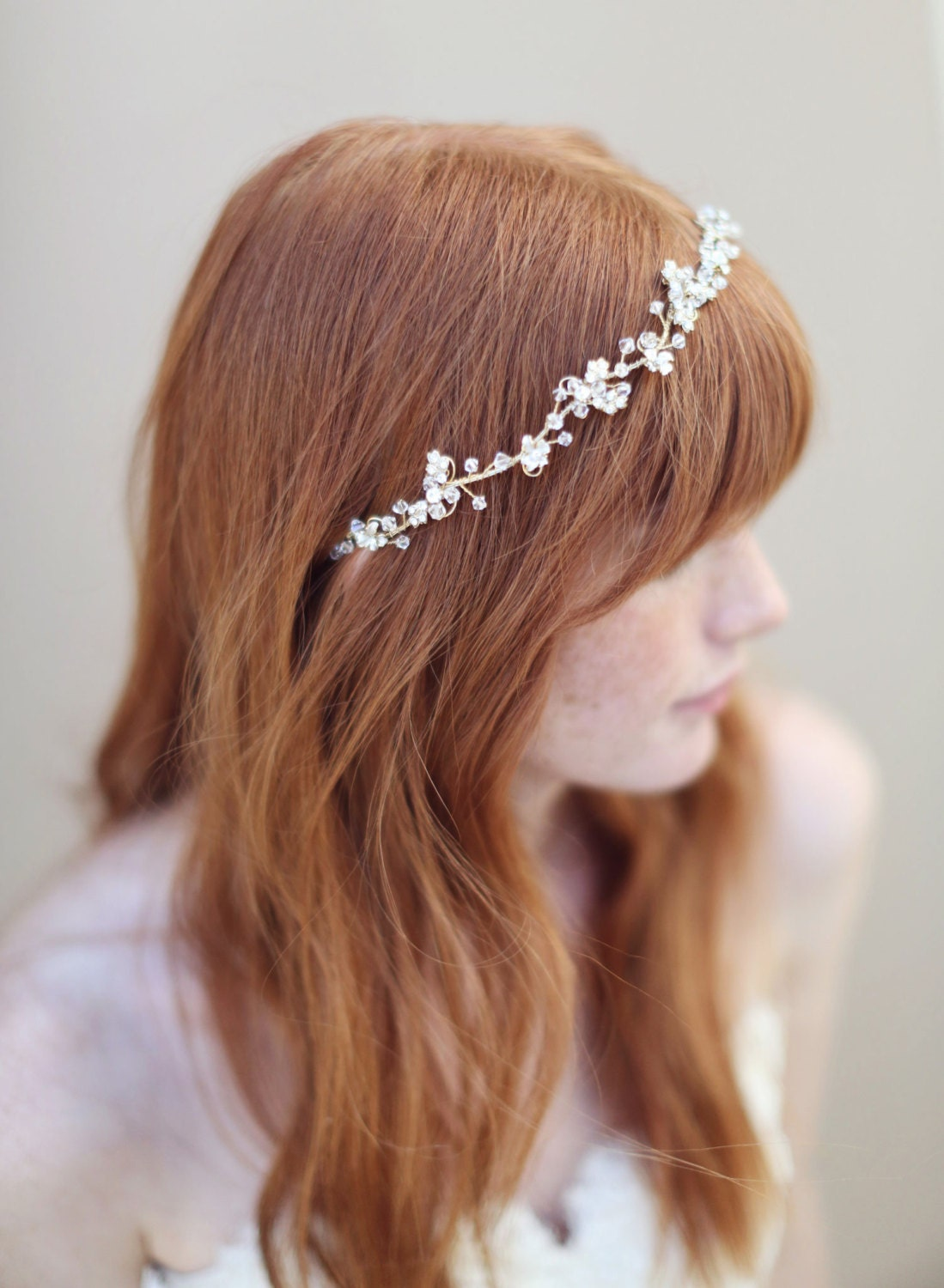 Br Bridal Headpieces Twigs And Honey - Bridal hair vine headband gold and crystal enchanted floral and crystal hair vine