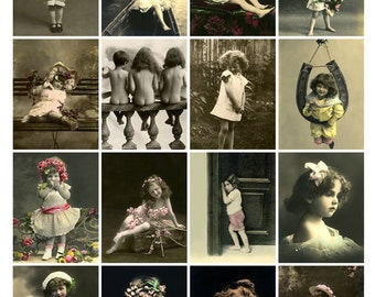 CHILDREN ARE CUTIES Vintage Postcards - Instant Download Digital Collage Sheet