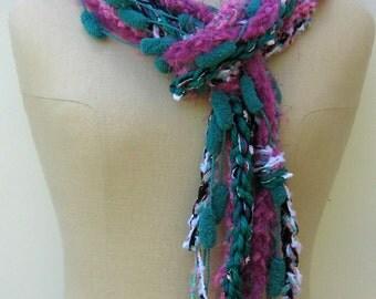 Sale Bohemian scarf, Ultramarine magenta braids scarf, Gypsy Fringe Scarf skinny lariat Hippie neck wear, BoHo Hippie scarf, summer scarf
