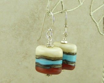 Turquoise Coral and Ivory Lampwork Bead Earrings - Turquoise Coral Silvered Ivory - Sterling Silver French Ear Wires